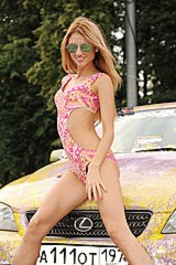 Girl in sexy bikini poses at car